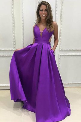 V-Neck Satin Natural Waist Honorable Sweep Train A-Line Ruffles Prom Dress