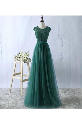 Sleeveless Natural Waist A-Line Tulle Floor Length Evening Dress
