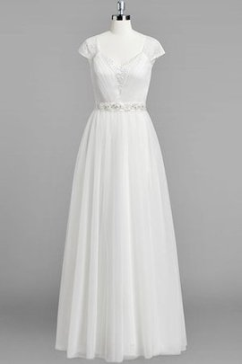 Short Sleeves Chiffon Natural Waist Beach Beading Wedding Dress