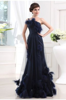Tulle One Shoulder Fur Feathers Satin Evening Dress