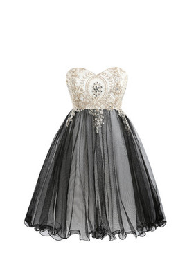 Knee Length Church Lace Fabric Crystal Tulle Cocktail Dress