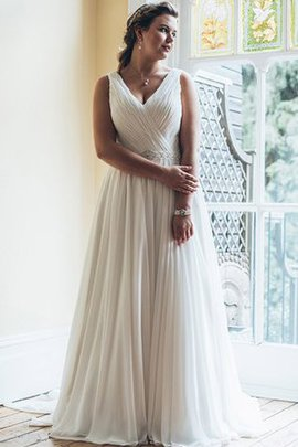 Court Train V-Neck Beading A-Line Vintage Wedding Dress