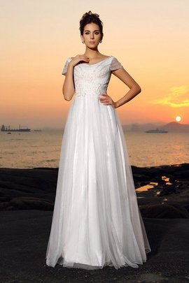 Floor Length A-Line Empire Waist Beach Wedding Dress