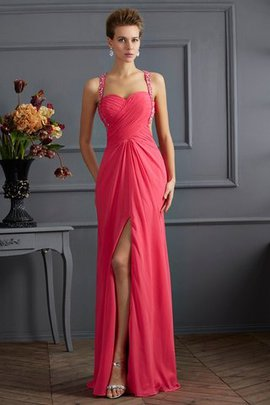 Sleeveless Chiffon Wide Straps Sweetheart Beading Evening Dress