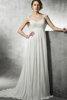 Informal & Casual V-Neck Beading Chiffon A-Line Wedding Dress