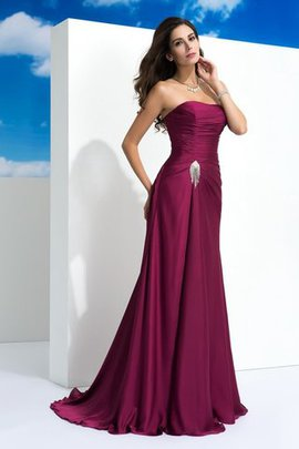 Draped Sweep Train Sleeveless Chiffon Evening Dress