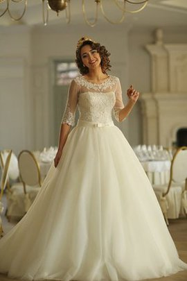Floor Length Natural Waist Court Train Half Sleeves Tulle Wedding Dress