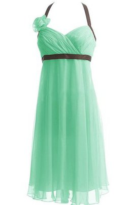 Lace-up Flowers Ruched A-Line Chiffon Bridesmaid Dress