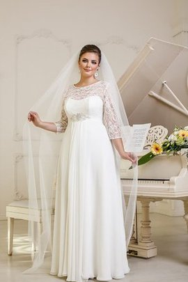 Floor Length 3/4 Length Sleeves Lace Fabric Beading Wedding Dress
