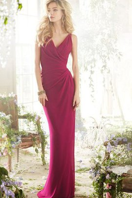 V-Neck Floor Length Chiffon Sleeveless Sheath Bridesmaid Dress