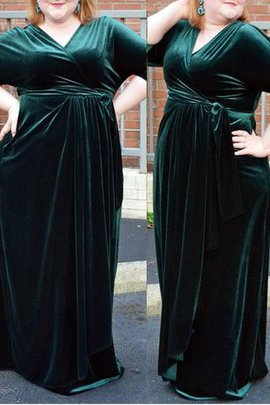 Natural Waist Half Sleeves Velvet Floor Length Prom Dress