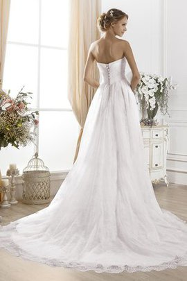 A-Line Sweep Train Long Lace Fabric Sleeveless Wedding Dress