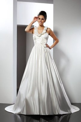 Princess Empire Waist Flowers Satin Sleeveless Wedding Dress