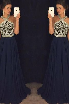 Beading A-Line Sleeveless Floor Length Evening Dress