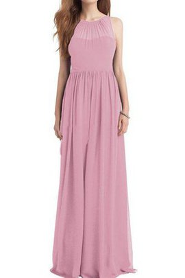 Floor Length A-Line Chiffon Long Ruched Bridesmaid Dress