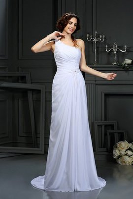 Draped A-Line Court Train Long Sleeveless Wedding Dress