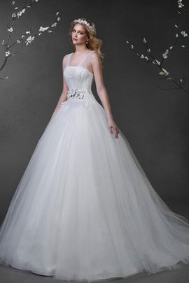 Lace-up Floor Length Ball Gown Long Court Train Wedding Dress