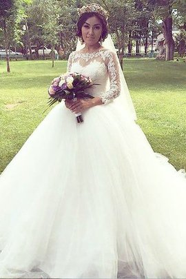 Long Sleeves Tulle Bateau Natural Waist Court Train Wedding Dress