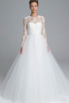 Embroidery Tulle Elegant & Luxurious Sweep Train Wedding Dress