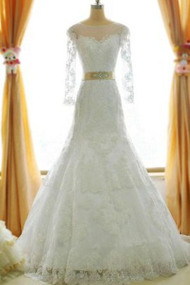 Lace-up Long Sleeves Lace Floor Length Wedding Dress