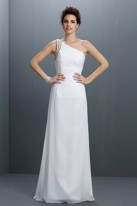 Sleeveless Beading Sheath Floor Length One Shoulder Prom Dress