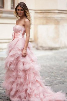 Strapless Flowers Tulle Court Train Zipper Up Prom Dress