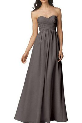 Strapless Floor Length Ruched Chiffon Criss-Cross Bridesmaid Dress