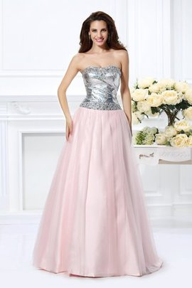 Beading Sleeveless Lace-up Satin Long Quinceanera Dress