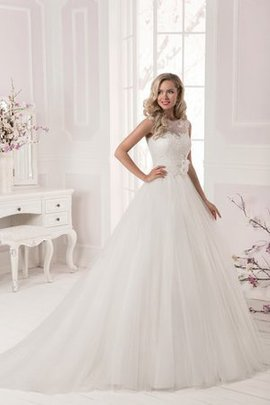 Tulle Long Floor Length Bateau Natural Waist Wedding Dress