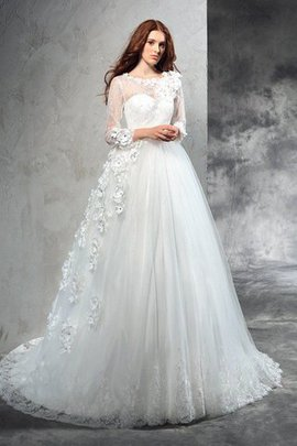 Court Train Flowers Natural Waist Zipper Up Long Sleeves Wedding Dress