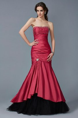 Strapless Floor Length Taffeta Long Sleeveless Evening Dress