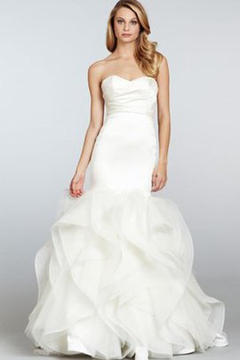 Strapless Zipper Up Ruched A-Line Dropped Waist Wedding Dress