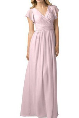Simple Short Sleeves Ruched A-Line Floor Length Bridesmaid Dress