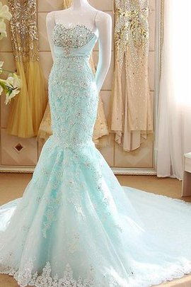 Appliques Mermaid Lace Fabric Court Train Lace-up Wedding Dress