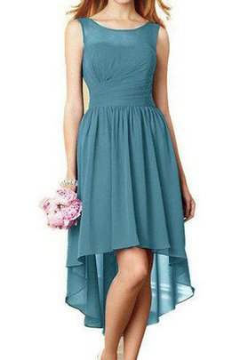 Pleated Ruched High Low Informal & Casual Sleeveless Bridesmaid Dress