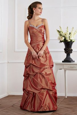 Natural Waist Sheath Beading Long Taffeta Evening Dress