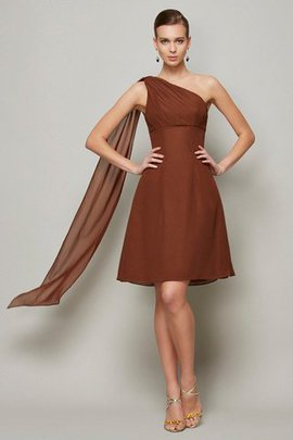 Draped Zipper Up Natural Waist Short A-Line Bridesmaid Dress