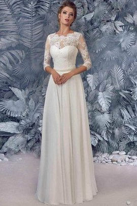 3/4 Length Sleeves A-Line Button Beading Elegant & Luxurious Wedding Dress