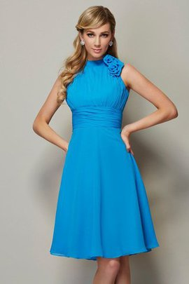 A-Line Zipper Up Short High Neck Chiffon Bridesmaid Dress
