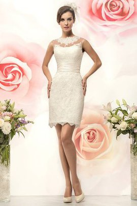 Simple Modest Jewel Sleeveless Informal & Casual Wedding Dress