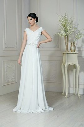 A-Line Flowers Ruffles Capped Sleeves Chiffon Wedding Dress