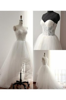 Tulle Lace High Low Sweetheart Tea Length Wedding Dress