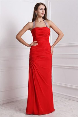 Natural Waist Sheath Beading Halter Long Prom Dress