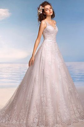 Long A-Line Tulle Sweep Train V-Neck Wedding Dress