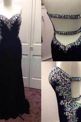 Empire Waist Sweep Train Sleeveless Sequined Chiffon Prom Dress