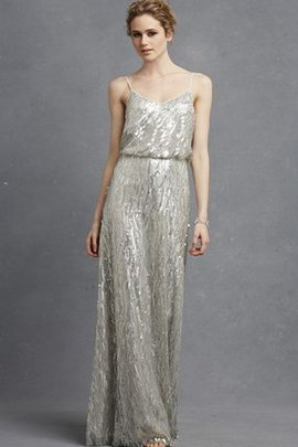 A-Line Spaghetti Straps Long Chic & Modern Sequined Bridesmaid Dress