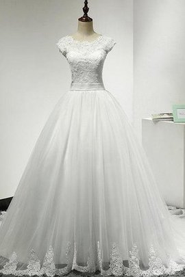 Capped Sleeves Romantic Court Train Sashes A-Line Wedding Dress