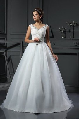 Beading Natural Waist V-Neck A-Line Wedding Dress