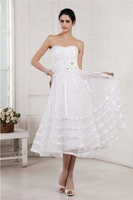 Draped Strapless Tea Length Organza Zipper Up Wedding Dress