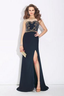 Sleeveless A-Line Natural Waist Sweep Train Evening Dress